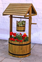 Wood Wishing Well Planter